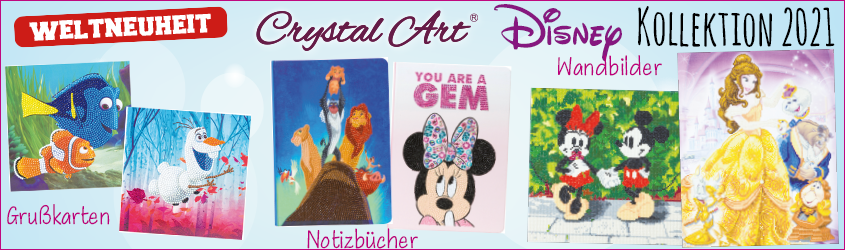 Craft Budy Disney Kollektion 2021, Crystal Art-Disney, bei uns jetzt schon lieferbar, Disney von Crystal Art.Crystal-Art-Shop www.glass-hobby-design.de, bastelshop, bastelversand, wo kauft ihr Crystal Art Artikel?? bei Glass Hobby Design Verrsand
